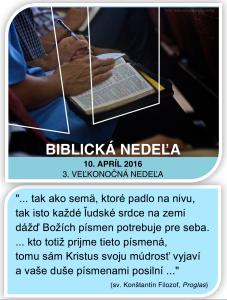 Biblická nedeľa 2016 a Proglas